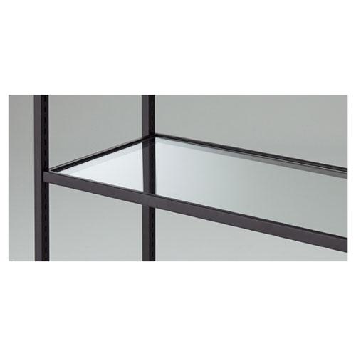 ガラス棚セット W120cmタイプ スチール枠 ブラック【店舗什器 パネル ディスプレー 棚 店舗備品】