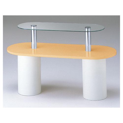 【まとめ買い10個セット品】 ガラス2段テーブル R型 エクリュ 【メーカー直送/代金引換決済不可】【店舗什器 パネル 壁面 店舗備品 仕切 棚】