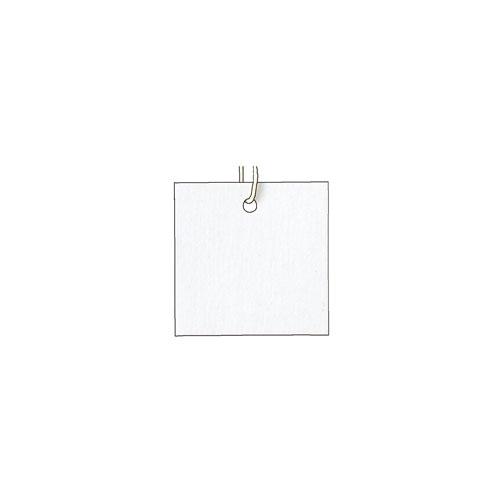 【まとめ買い10個セット品】パック再生紙さげ札(生成糸付き) 3×3cm ホワイト 500枚【 販促用品 ポスター POP タグ 店舗備品 】