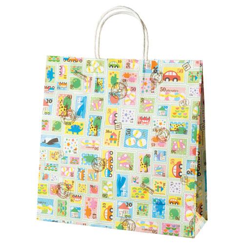 【まとめ買い10個セット品】 プチスタンプ 手提げ紙袋 32×11×43 50枚【店舗備品 包装紙 ラッピング 袋 ディスプレー店舗】
