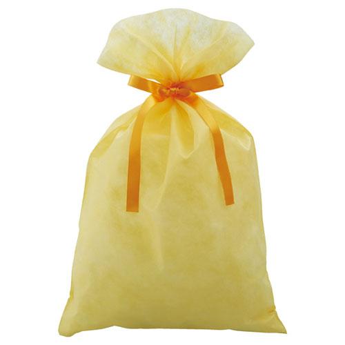 【まとめ買い10個セット品】 不織布リボン付きギフトバッグ イエロー 31×50(37.2) 10枚【店舗備品 店舗インテリア 店舗改装】