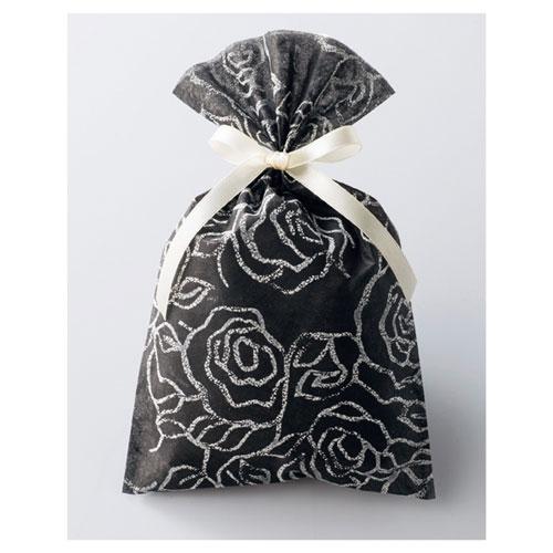 【まとめ買い10個セット品】 フレンチローズ ギフトバッグ ブラック 20枚【店舗備品 包装紙 ラッピング 袋 ディスプレー店舗】