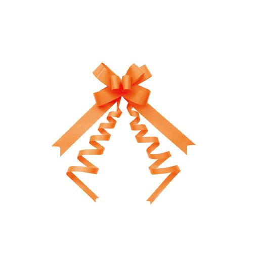 【まとめ買い10個セット品】 バスケットボウ 22mm幅 オレンジ 50個【店舗備品 包装紙 ラッピング 袋 ディスプレー店舗】