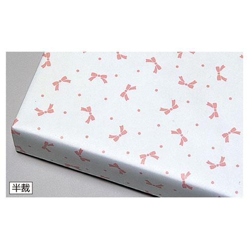 【まとめ買い10個セット品】リボンピンク 半裁 100枚【 店舗備品 包装紙 ラッピング 袋 ディスプレー店舗 】