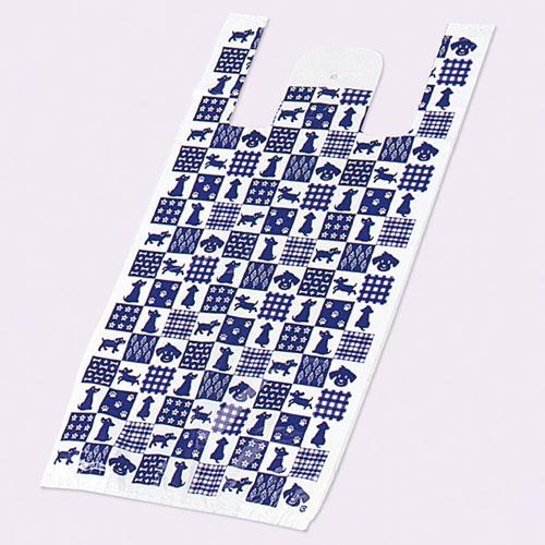 レジ袋 ワンワンチェック 22×43(31)×横マチ13 4000枚【店舗什器 小物 ディスプレー ギフト ラッピング 包装紙 袋 消耗品 店舗備品】