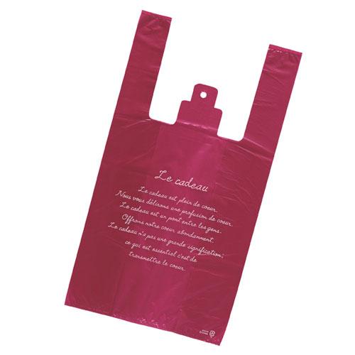 【まとめ買い10個セット品】 レジ袋 エンジ 30×55(39)×横マチ15 2000枚【店舗什器 小物 ディスプレー ギフト ラッピング 包装紙 袋 消耗品 店舗備品】