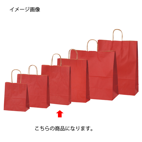 【まとめ買い10個セット品】 カラー手提げ紙袋 レッド 27×8×34 50枚【店舗備品 包装紙 ラッピング 袋 ディスプレー店舗】