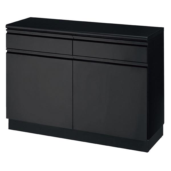 スチール製収納BOXハイタイプ/カウンターW120 ブラック W120cm ブラック 抽斗&扉&台輪タイプ