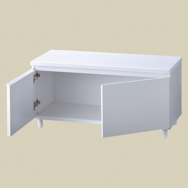 木製収納ボックスロータイプ W90cm ホワイト H45cm 丸棒脚×4本付き Aタイプ