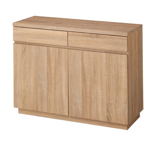 木製収納ボックス W90cm 抽斗+扉 ラス ティック 台輪タイプ