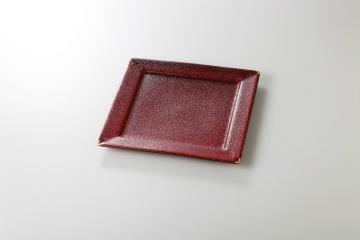 【まとめ買い10個セット品】和食器 赤黒釉彩 正角8寸皿 35K128-19 まごころ第35集 【キャンセル/返品不可】