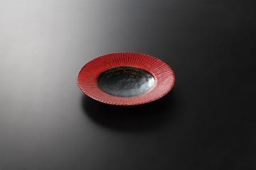 【まとめ買い10個セット品】和食器 赤黒釉彩 菊彫7.5皿 36K131-19 まごころ第36集 【キャンセル/返品不可】