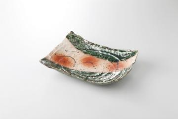 和食器 織部火だすき 渦彫盛皿 35K226-07 まごころ第35集