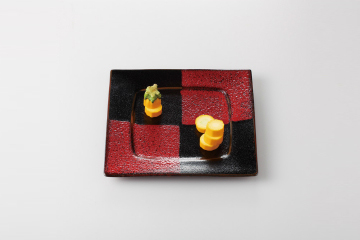 【まとめ買い10個セット品】和食器 赤黒釉彩市松 8.0角前菜皿 36K124-18 まごころ第36集 【キャンセル/返品不可】