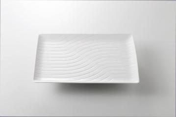 【まとめ買い10個セット品】和食器 白 波彫長角皿 36K375-01 まごころ第36集 【キャンセル/返品不可】