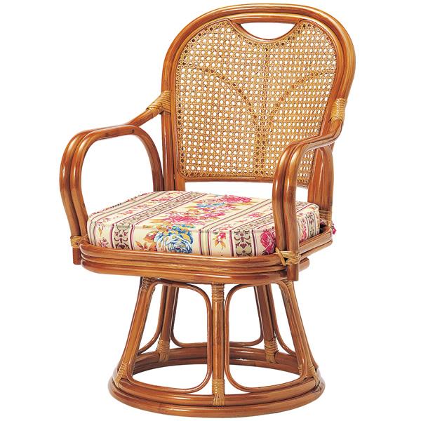 ラタン回転椅子 ミドルタイプ〔SH390〕 R-390S【 椅子 洋風 カフェチェア イス チェア 座椅子 籐製 】【 メーカー直送/後払い決済不可 】