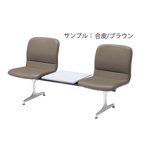 ロビーチェア〔2人用コンビ〕〔ブラウン〕 RD-52C〔合成皮革/ブラウン〕【 椅子 洋風 オフィスチェア ベンチ 】【受注生産品】【 メーカー直送/後払い決済不可 】