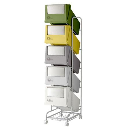 分別ごみ箱 5分別ごみ箱 ステンレスフラップ コンテナスタイル3 CS3-100S MX4