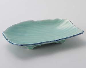【まとめ買い10個セット品】和食器 ミ016-077 深海青磁流水彫7.0皿【キャンセル/返品不可】