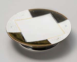 【まとめ買い10個セット品】和食器 オ022-036 条根織部銀彩高台皿 【キャンセル/返品不可】