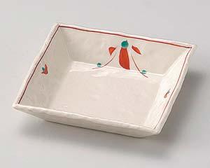【まとめ買い10個セット品】和食器 ユ033-017 赤絵花正角浅鉢【キャンセル/返品不可】