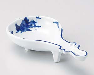 【まとめ買い10個セット品】和食器 ウ050-116 染付山水びわ型小鉢 【キャンセル/返品不可】
