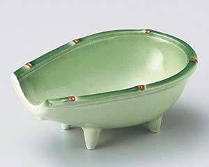 【まとめ買い10個セット品】和食器 ロ055-087 緑彩箕型小鉢【キャンセル/返品不可】