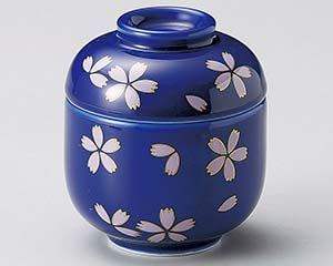 【まとめ買い10個セット品】和食器 オ109-067 藍染桜ふぶきミニむし碗【キャンセル/返品不可】
