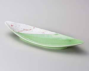 【まとめ買い10個セット品】和食器 キ120-156 緑釉赤散らしラスター笹型長皿 【キャンセル/返品不可】