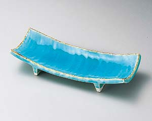 【まとめ買い10個セット品】和食器 ツ137-097 青彩釉長角皿【キャンセル/返品不可】