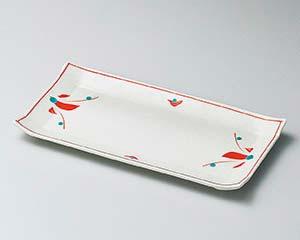 【まとめ買い10個セット品】和食器 ユ140-197 赤絵花長角皿【キャンセル/返品不可】
