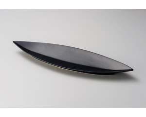 【まとめ買い10個セット品】和食器 オ151-196 笹型大皿黒 【キャンセル/返品不可】