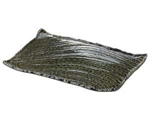 【まとめ買い10個セット品】和食器 ワ153-036 黒織部枯山水37cm角皿(大) 【キャンセル/返品不可】