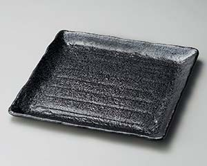 【まとめ買い10個セット品】和食器 ト177-157 黒釉正角大盛皿【キャンセル/返品不可】