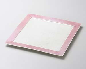 【まとめ買い10個セット品】和食器 ミ178-126 ピンクラスターリム付24cm角皿 【キャンセル/返品不可】