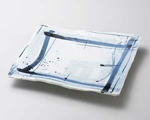 【まとめ買い10個セット品】和食器 ツ178-206 呉須格子長角9.5寸皿 【キャンセル/返品不可】