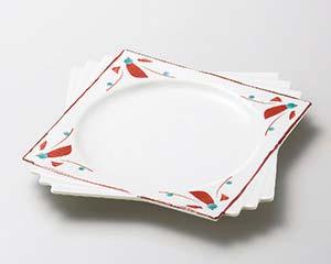 【まとめ買い10個セット品】和食器 ユ186-176 淡雪赤絵 千代折角大皿 【キャンセル/返品不可】