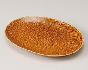 【まとめ買い10個セット品】和食器 ネ189-026 かごクラフト 27楕円皿 飴釉 【キャンセル/返品不可】