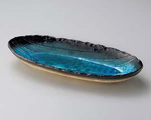 【まとめ買い10個セット品】和食器 ヤ190-086 藍染スカイブルー手造り楕円長鉢(大) 【キャンセル/返品不可】