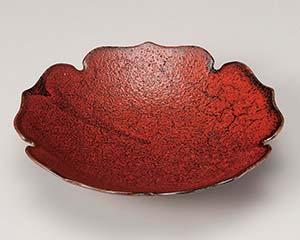 和食器 カ196-046 紅柚子天目輪花7.0皿