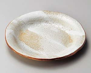 【まとめ買い10個セット品】和食器 ロ201-037 白油滴刷毛6寸反り丸皿【キャンセル/返品不可】