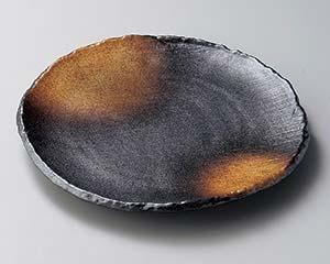 【まとめ買い10個セット品】和食器 ヤ204-037 黒備前金茶吹8.0丸皿【キャンセル/返品不可】