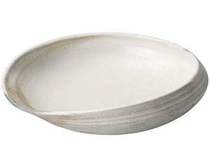 【まとめ買い10個セット品】和食器 メ233-107 灰釉粉引11.0変型大鉢【キャンセル/返品不可】