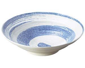 【まとめ買い10個セット品】和食器 ワ236-056 白玉粉引青刷毛渦尺鉢 【キャンセル/返品不可】