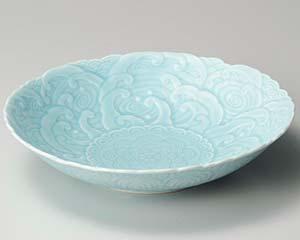 【まとめ買い10個セット品】和食器 タ237-097 青磁青海波彫盛鉢【キャンセル/返品不可】