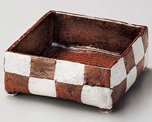 【まとめ買い10個セット品】和食器 ミ246-027 アメ釉銀彩手造り四角鉢【キャンセル/返品不可】