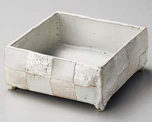 【まとめ買い10個セット品】和食器 ミ246-037 白釉銀彩手造り四角鉢【キャンセル/返品不可】
