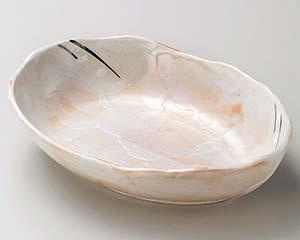 【まとめ買い10個セット品】和食器 イ257-077 赤志野舟形8寸鉢【キャンセル/返品不可】