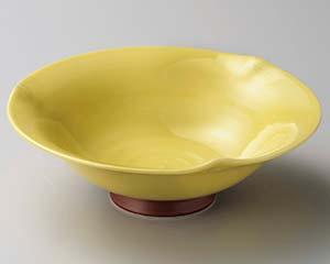 【まとめ買い10個セット品】和食器 テ261-046 黄釉高台三ツ押7.0鉢 【キャンセル/返品不可】