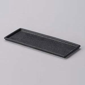 【まとめ買い10個セット品】和食器 ケ293-107 黒びぜん21cm細長角皿【キャンセル/返品不可】
